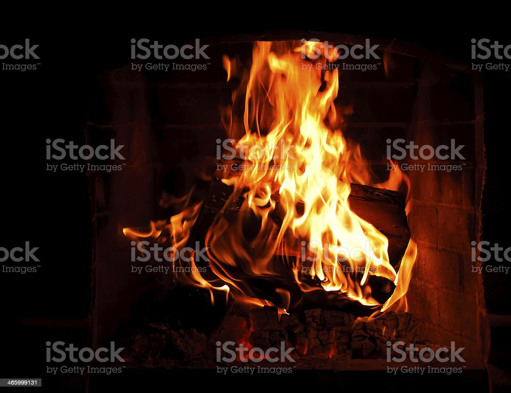 fire in fireplace royalty-free stock photo