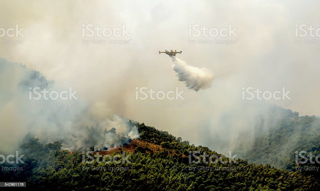 Fire in forest areas in Viotia in Central Greece stock photo