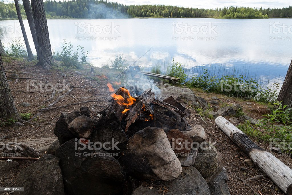 Fire in front of the lake royalty-free stock photo
