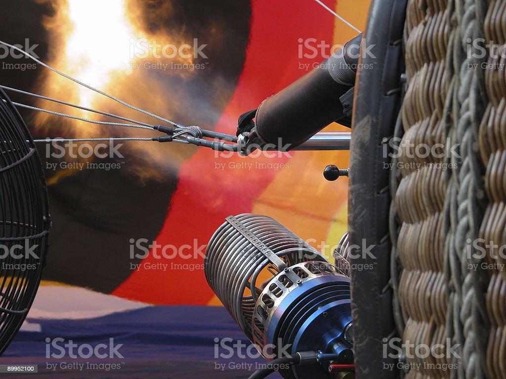Fire in Hot Air Balloon stock photo