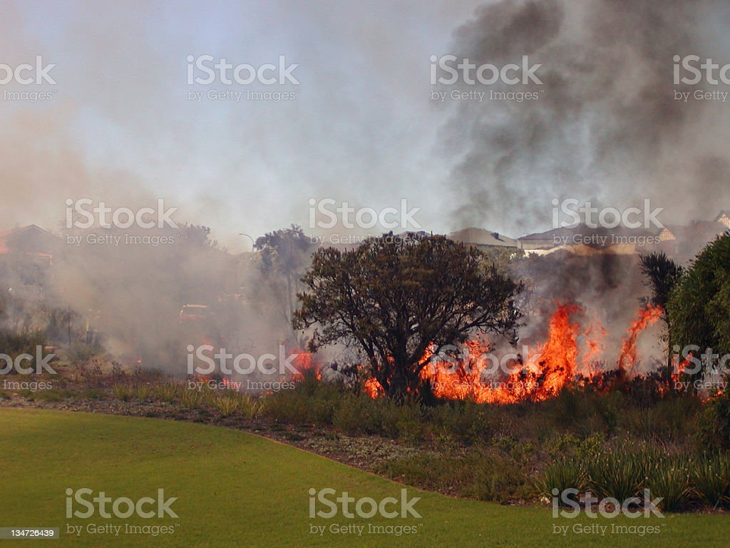 Fire in suburbia royalty-free stock photo