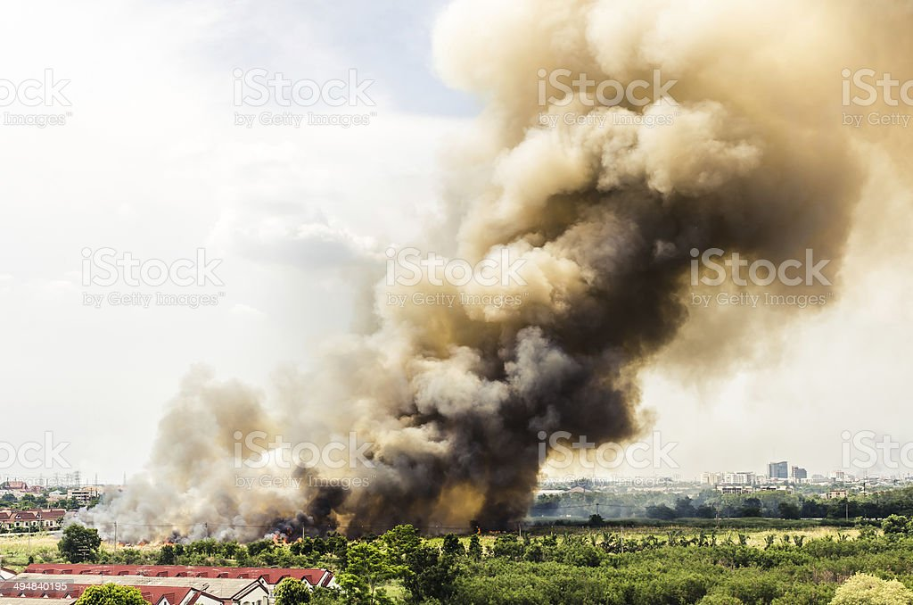 Fire in the city overview. stock photo