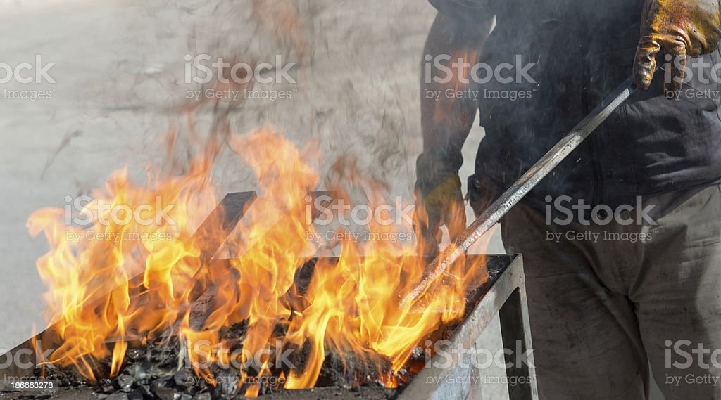Fire in the metal box stock photo