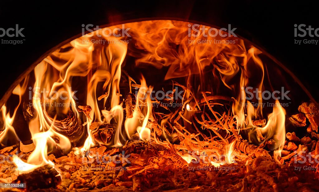 fire in the oven stock photo