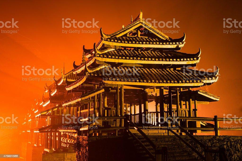 Fire in the Sky Illuminated Chengyang Bridge at Night China stock photo