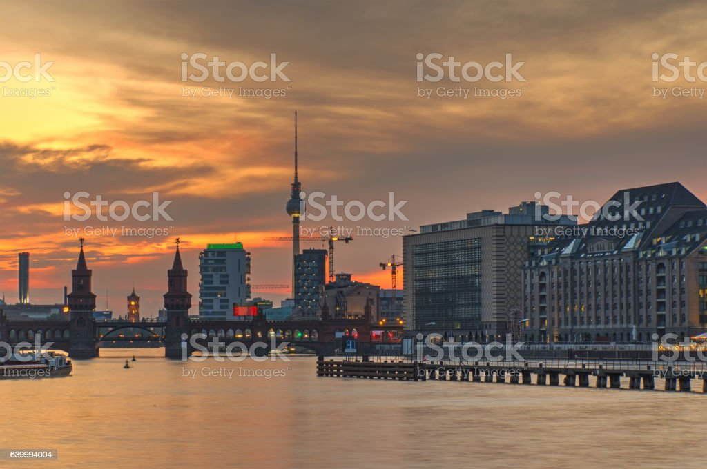 Fire in the sky over Berlin stock photo