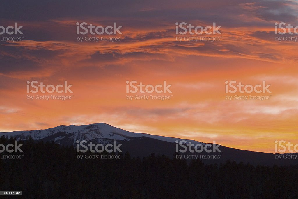 Fire in the Sky--New Mexico Sunset Cloudscape stock photo
