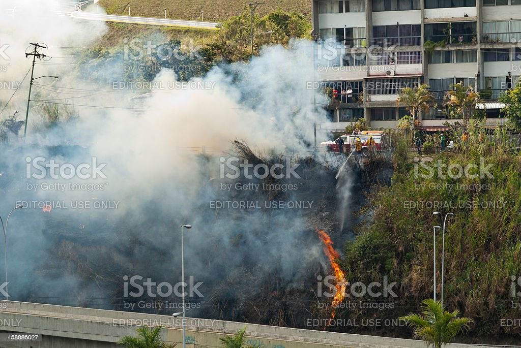 Fire in the suburb royalty-free stock photo