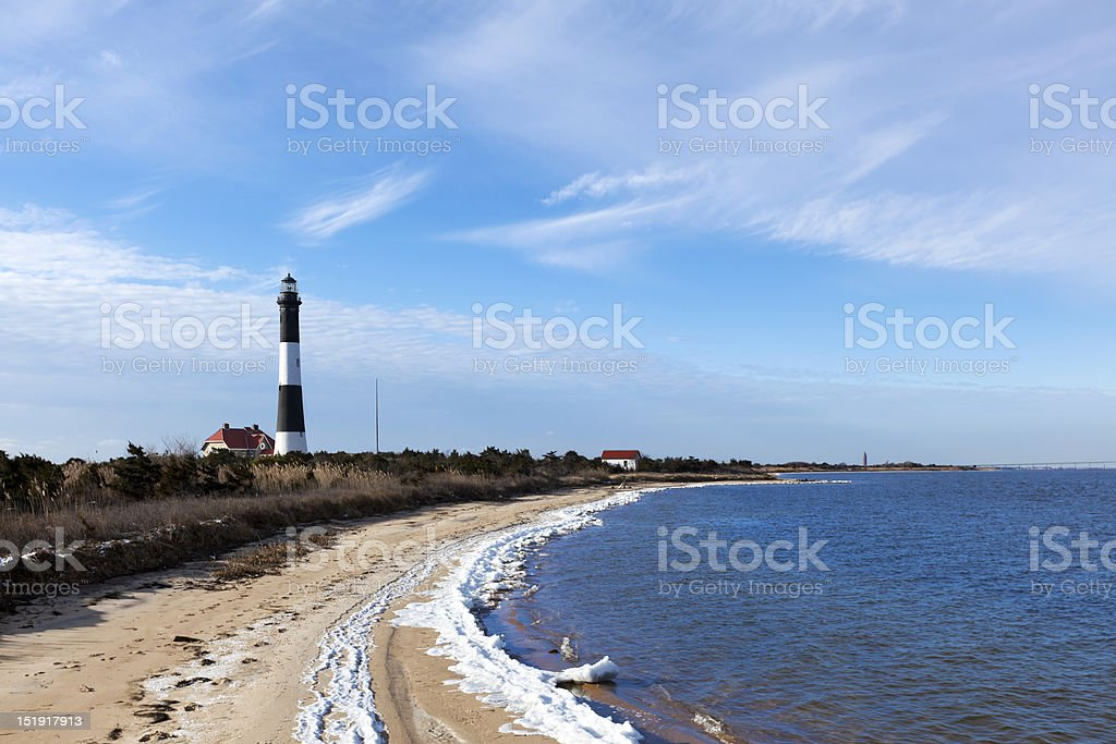 Fire Island Lighthouse and the Great South Bay stock photo