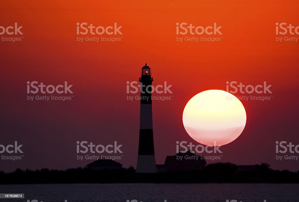 Fire Island Lighthouse at Sunset stock photo