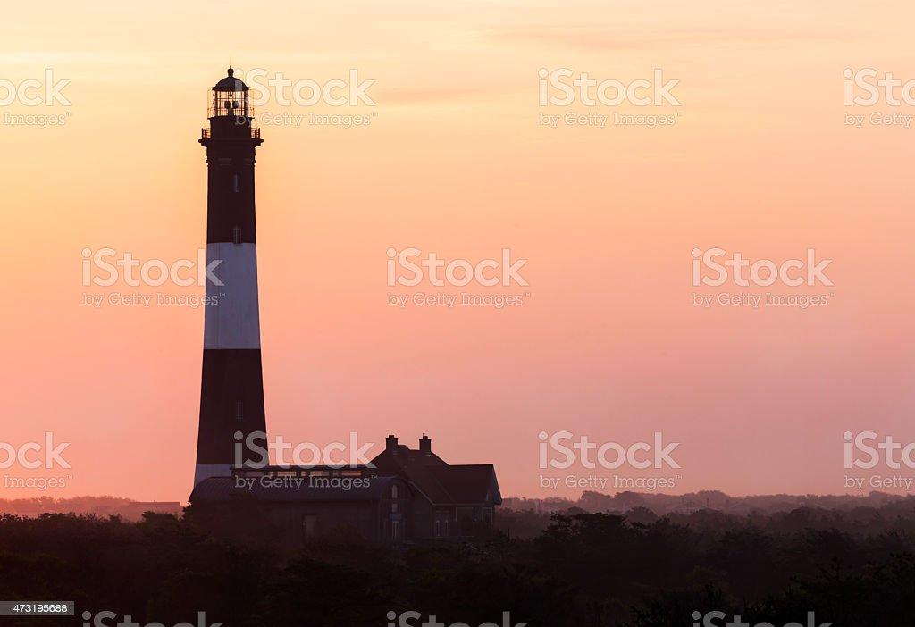 Fire Island Lighthouse Foggy Sunrise stock photo
