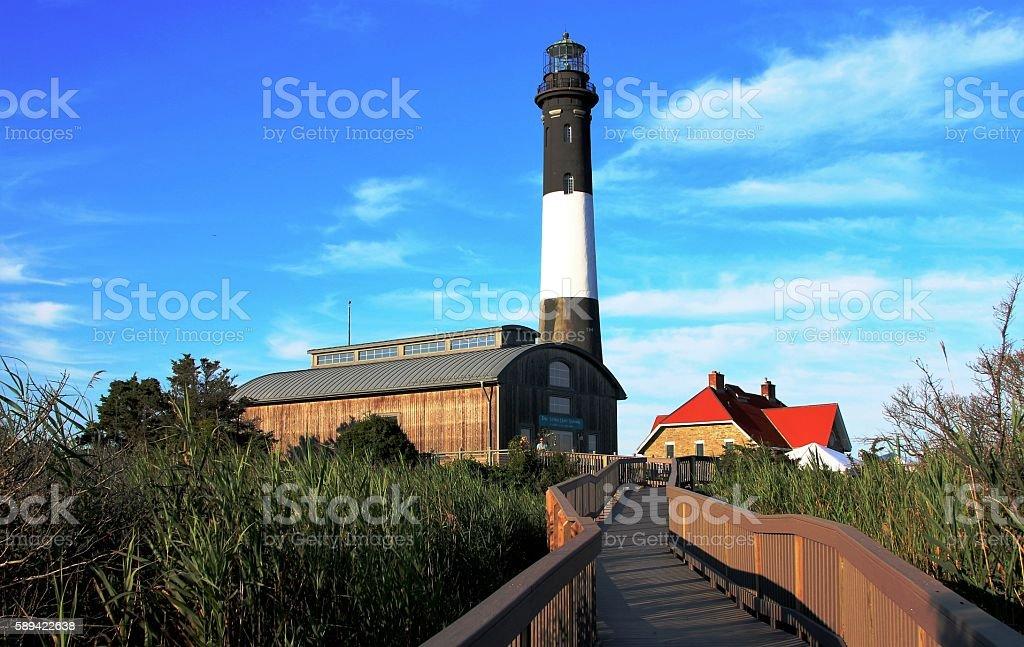 Fire Island Lighthouse taken from the boardwalk stock photo