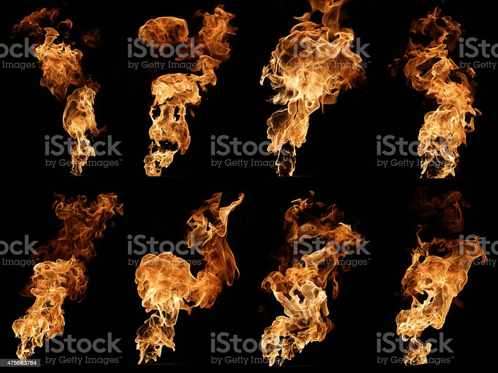 Fire isolated on black photo collage stock photo