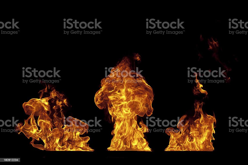 Fire isolated on black royalty-free stock photo