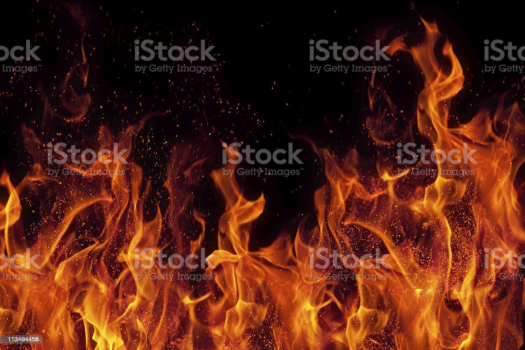 fire isolated over black background stock photo