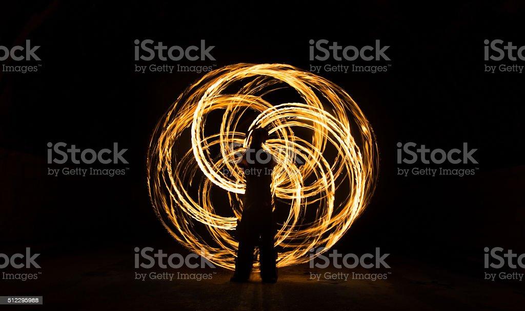 Fire Juggler Makes Flower Of Life stock photo