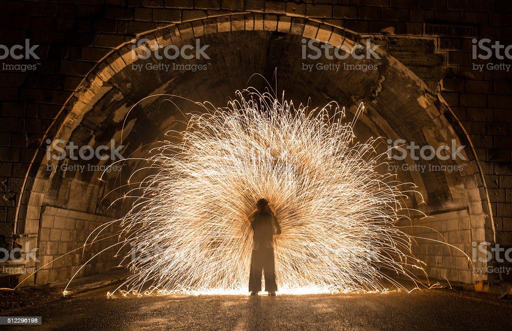 Fire Juggler Performance stock photo