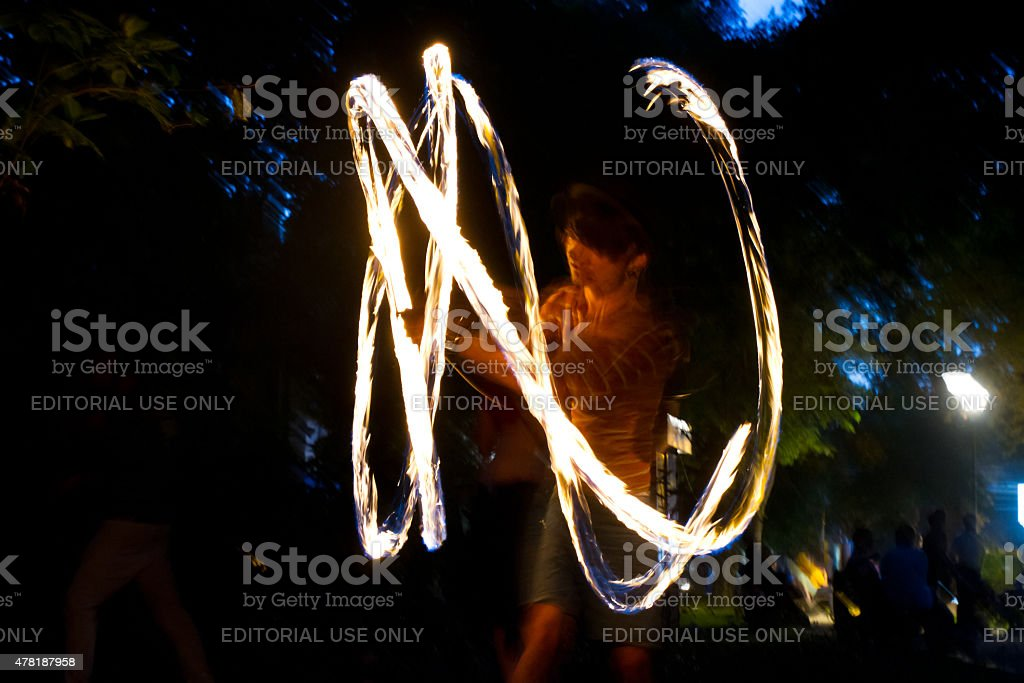 Fire jugglers royalty-free stock photo