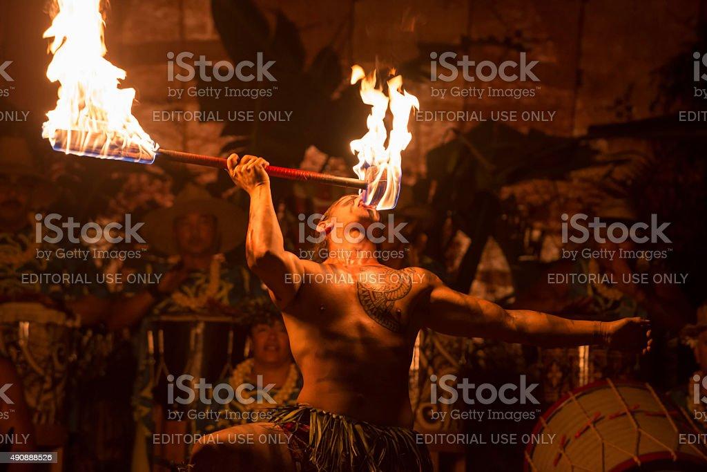Fire knife Dancer stock photo