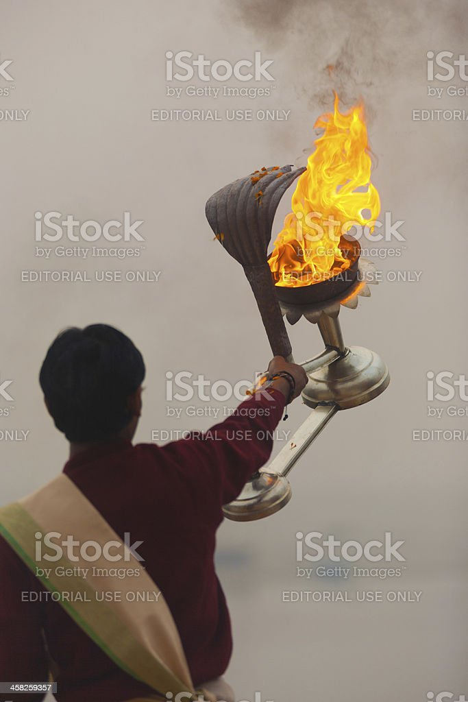 Fire Lantern Hindu Priest Ganges River Prayer royalty-free stock photo