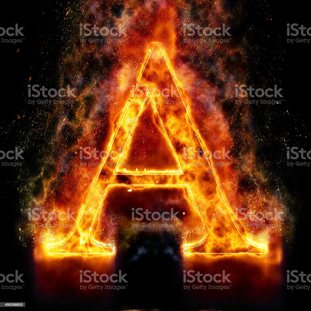 Fire Letter A stock photo