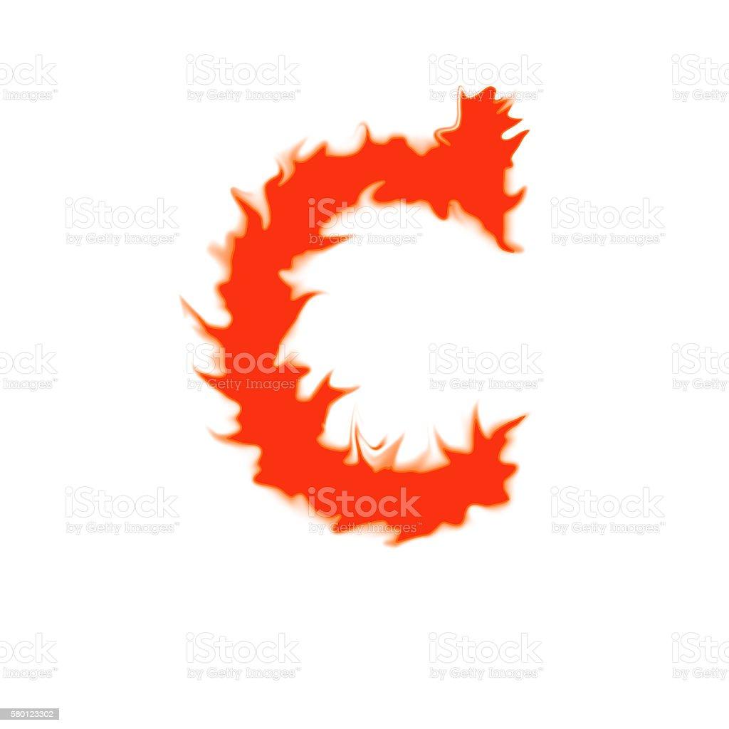 Fire letter C isolated on white background zbiór zdjęć royalty-free