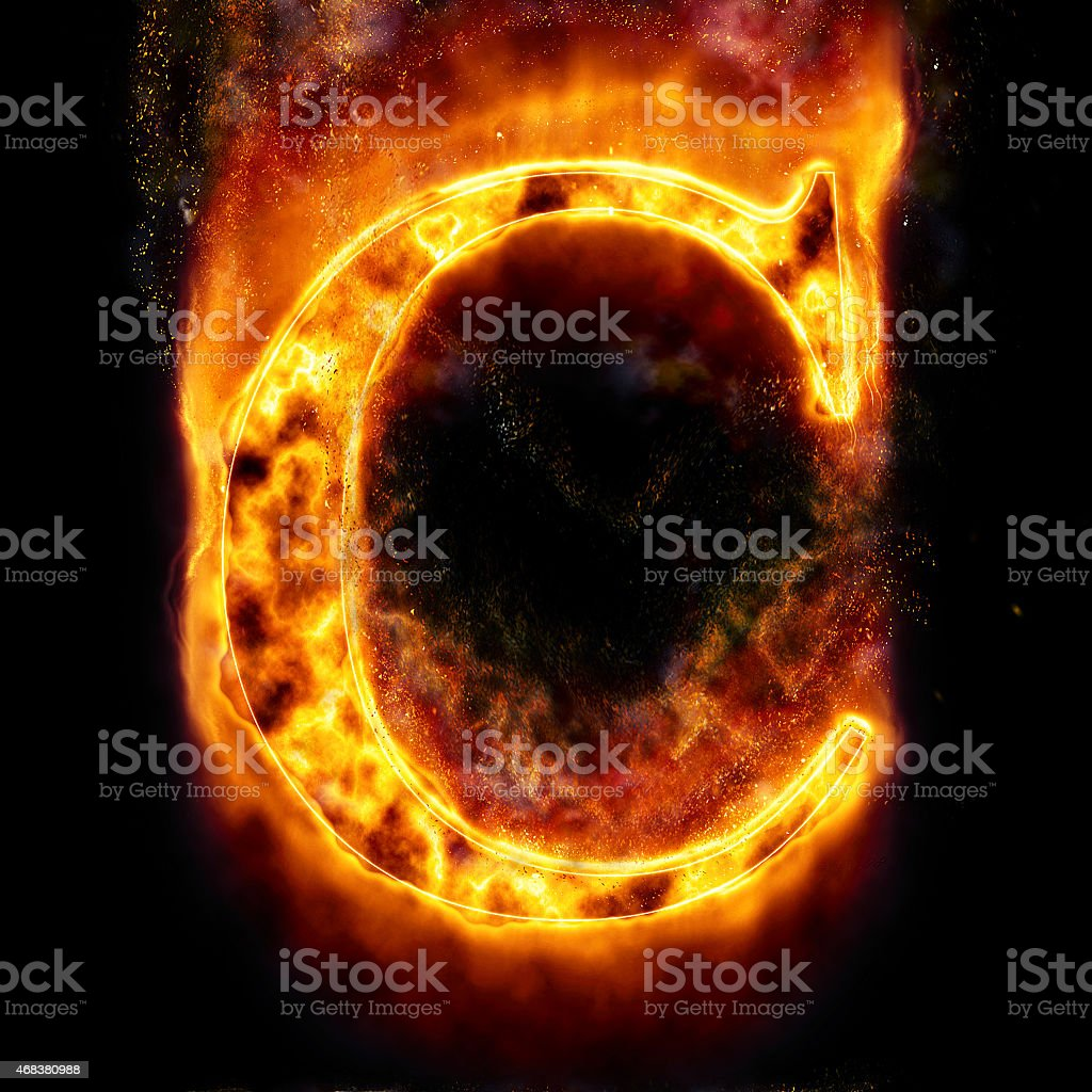 Fire Letter C stock photo