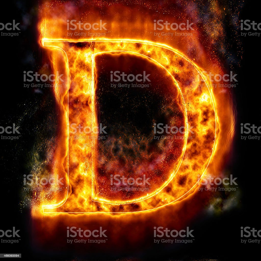 Fire Letter D stock photo