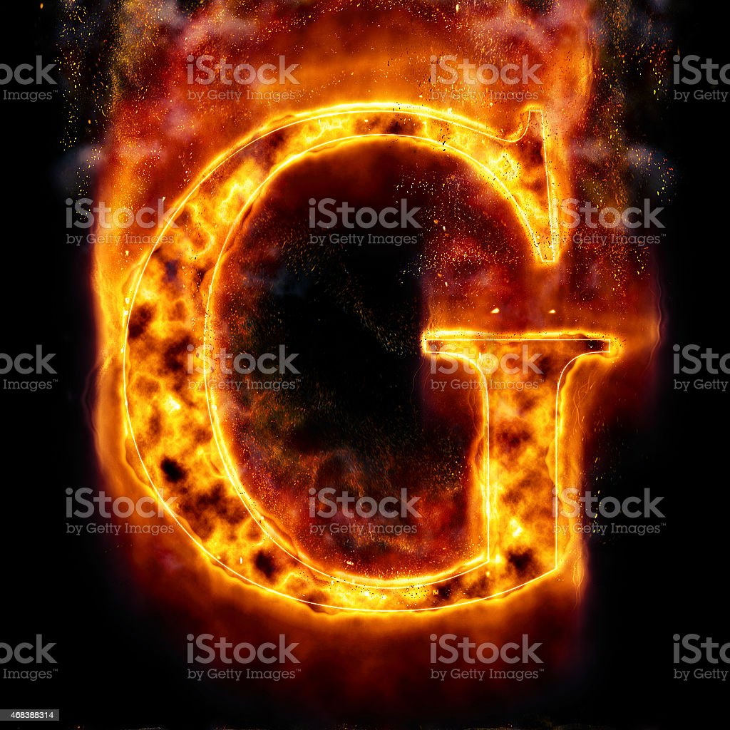Fire Letter G stock photo