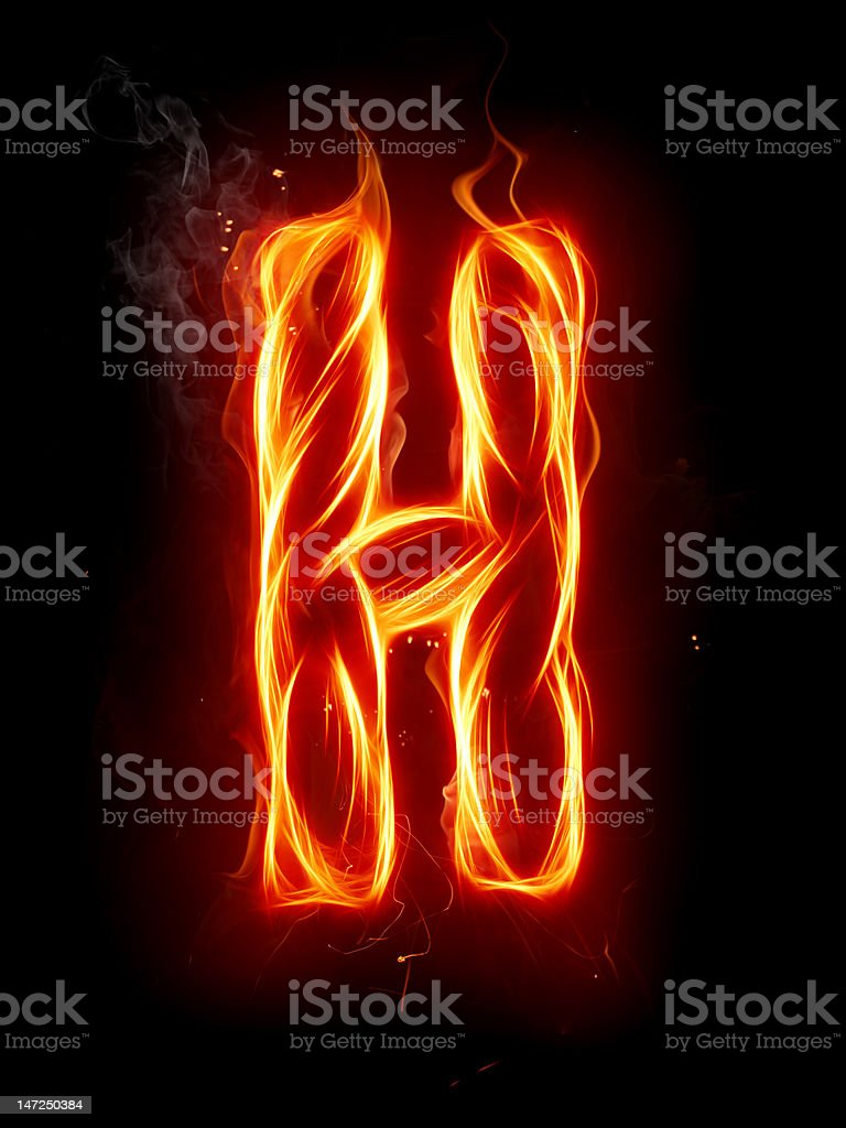 Fire letter H royalty-free stock photo