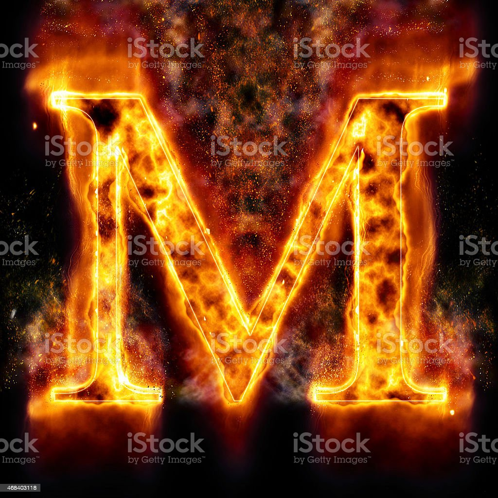 Fire Letter M stock photo