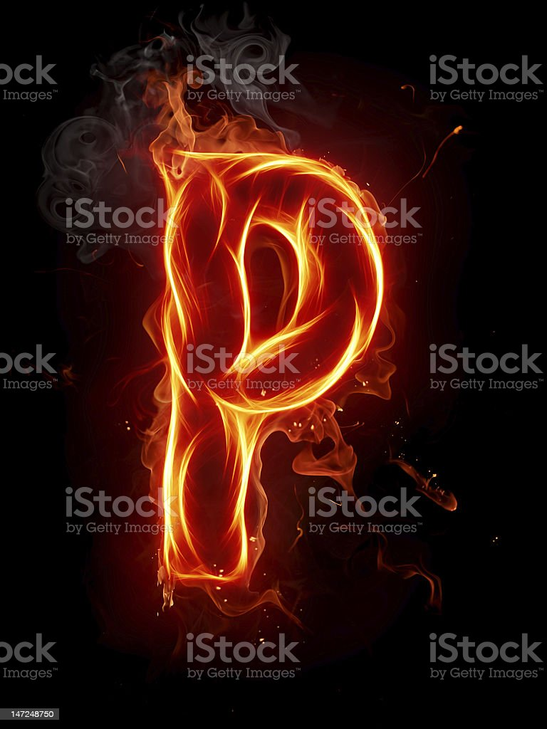 Fire letter P royalty-free stock photo