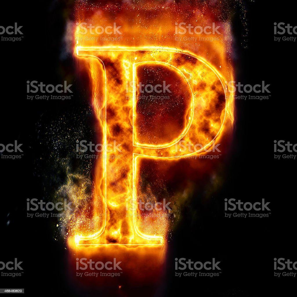 Fire Letter P stock photo