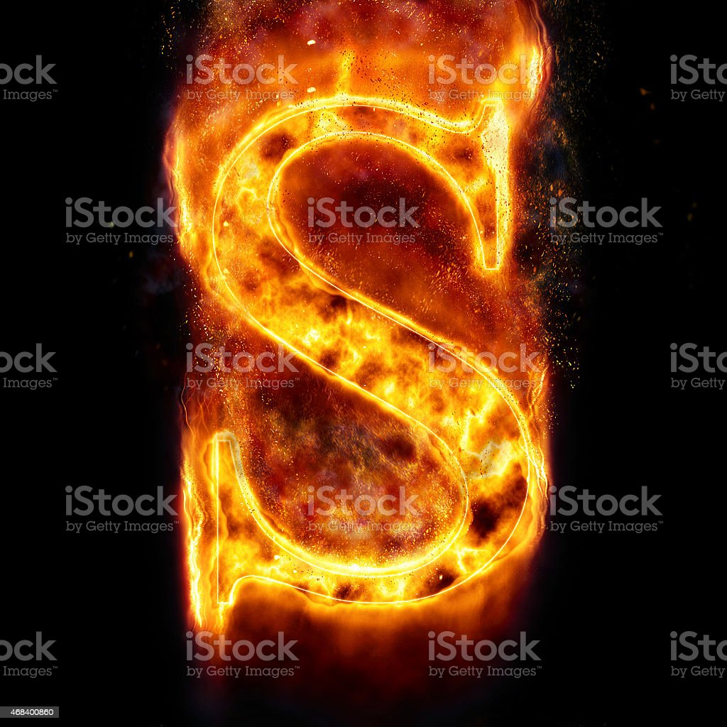 Fire Letter S stock photo