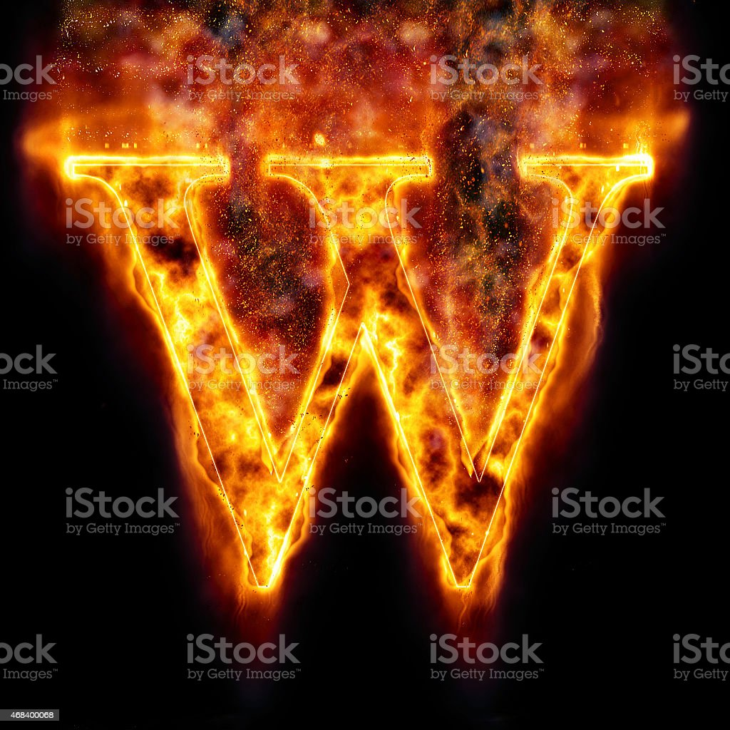 Fire Letter W stock photo