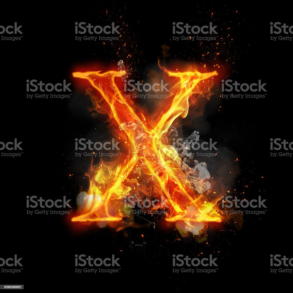 Fire letter X of burning flame light stock photo