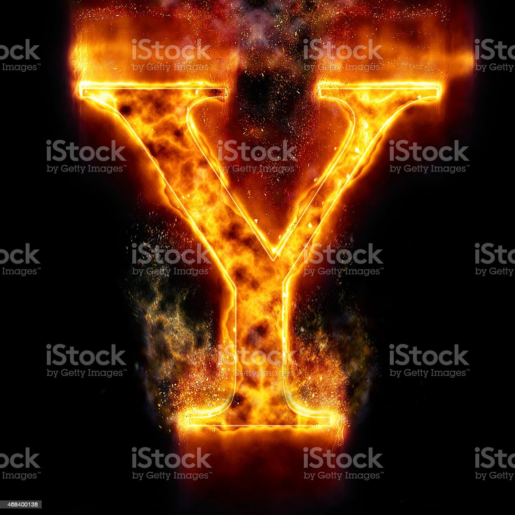 Fire Letter Y stock photo