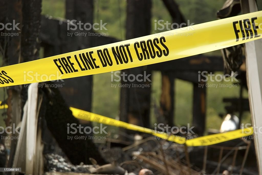 Fire Line - Burned Building royalty-free stock photo