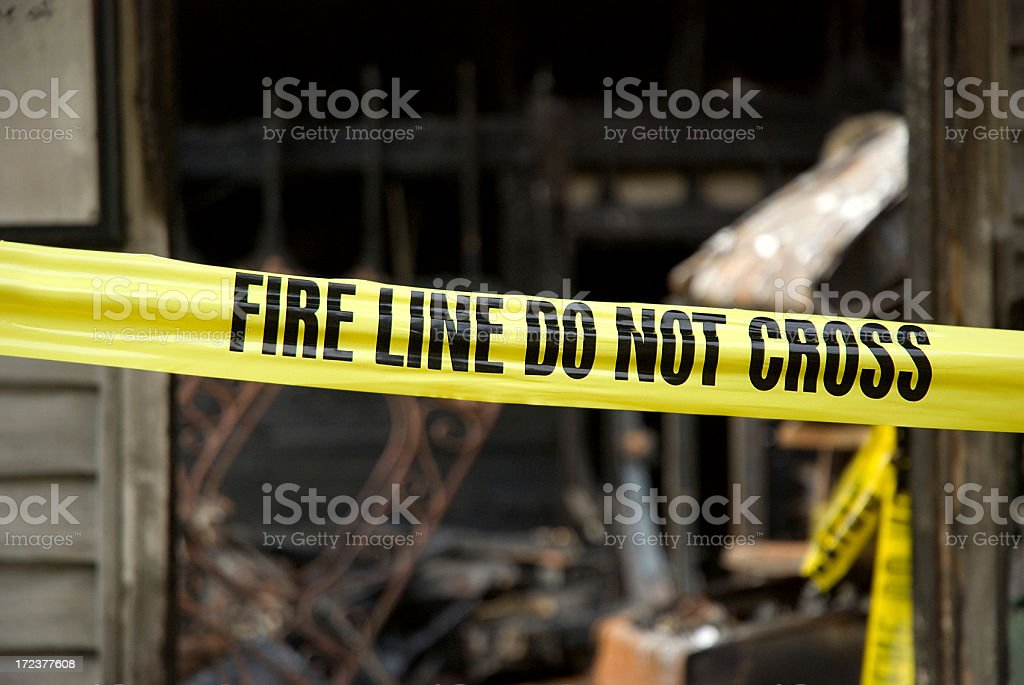 Fire Line - Destoyed Home royalty-free stock photo