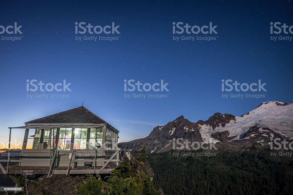 Fire lookout at Park Butte stock photo