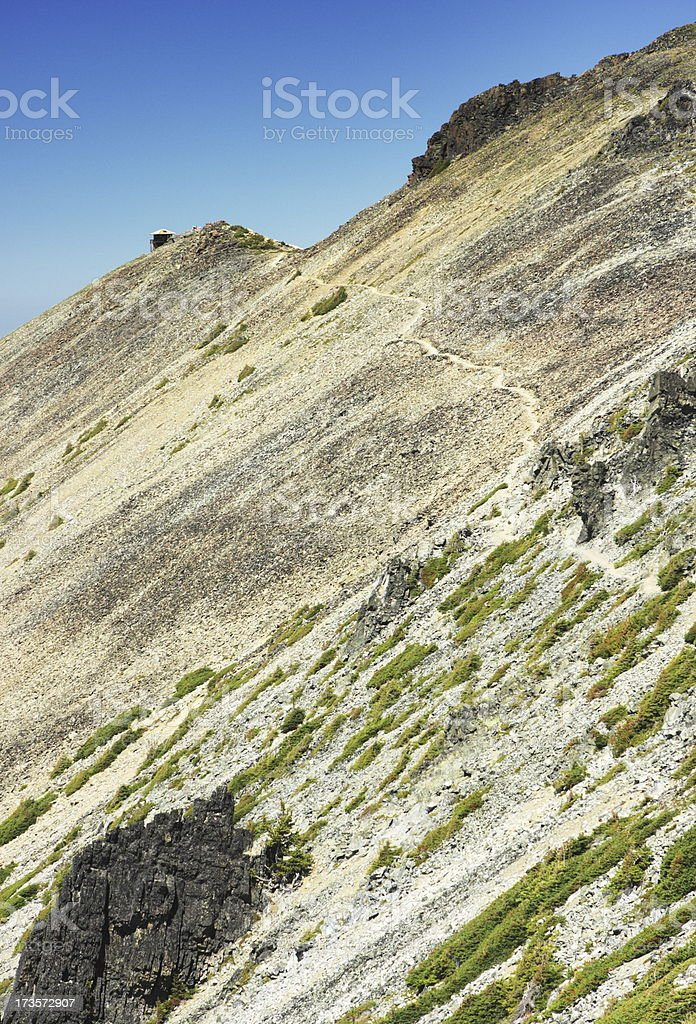 Fire Lookout Tower Remote Mountain Trail royalty-free stock photo