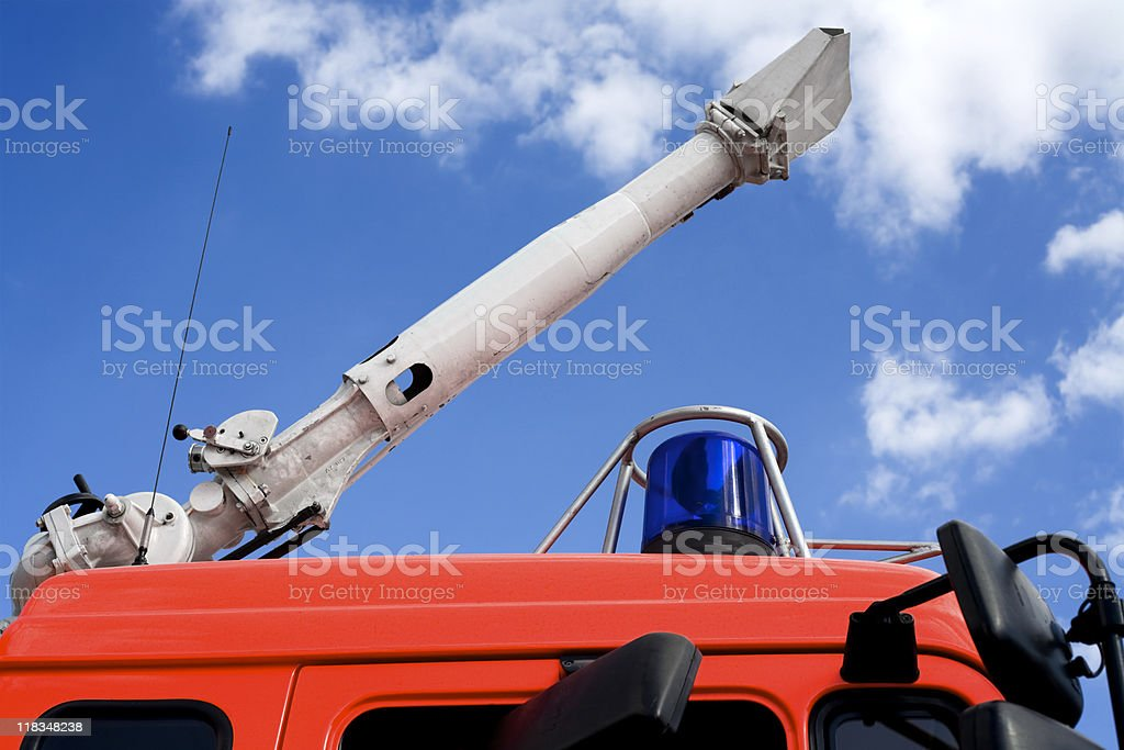 fire monitor - water cannon, blue light stock photo