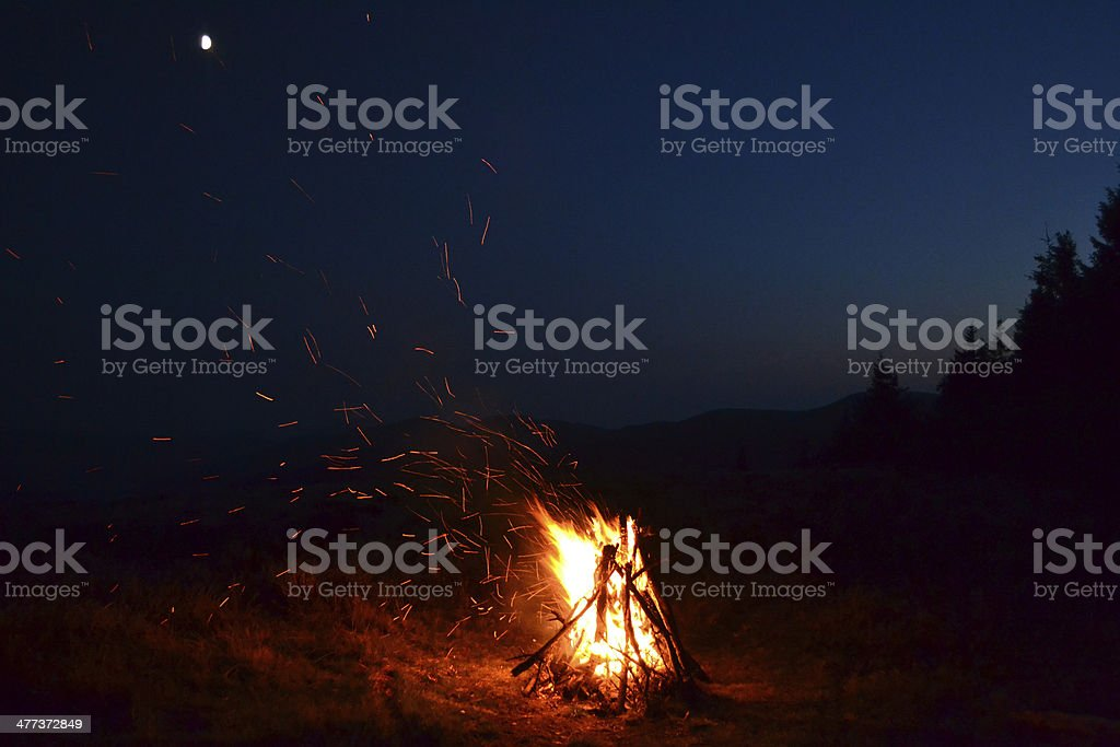 Fire, moon, cloud mountains travel sky stock photo