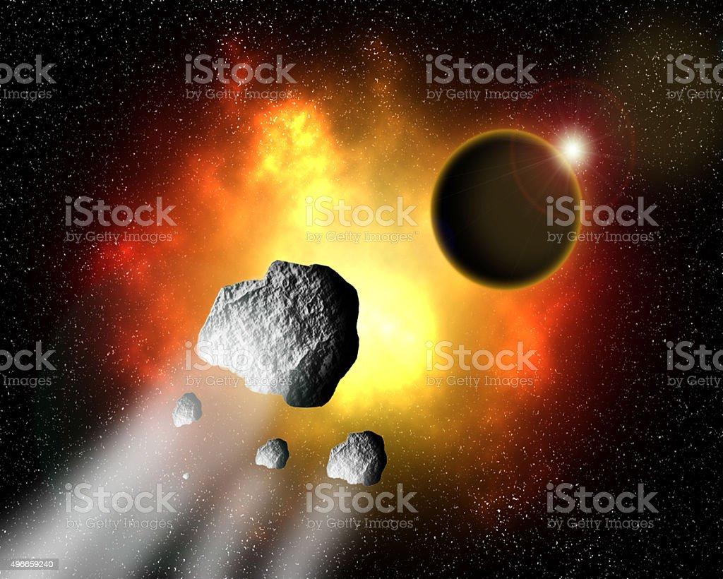 Fire nebula. stock photo