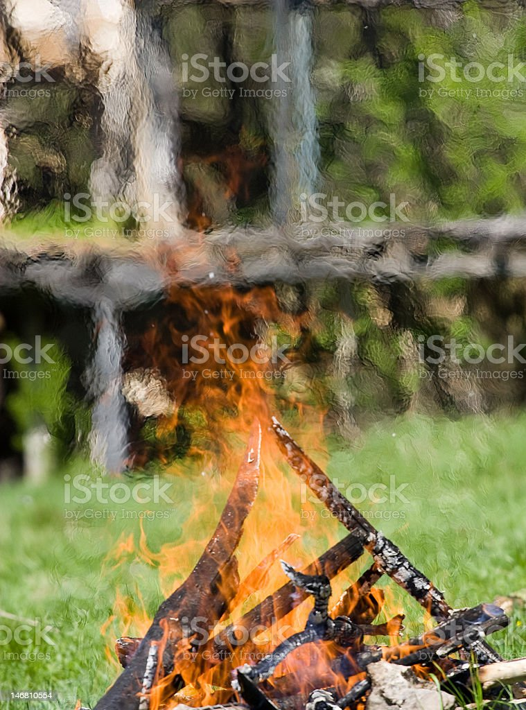 fire on a field royalty-free stock photo
