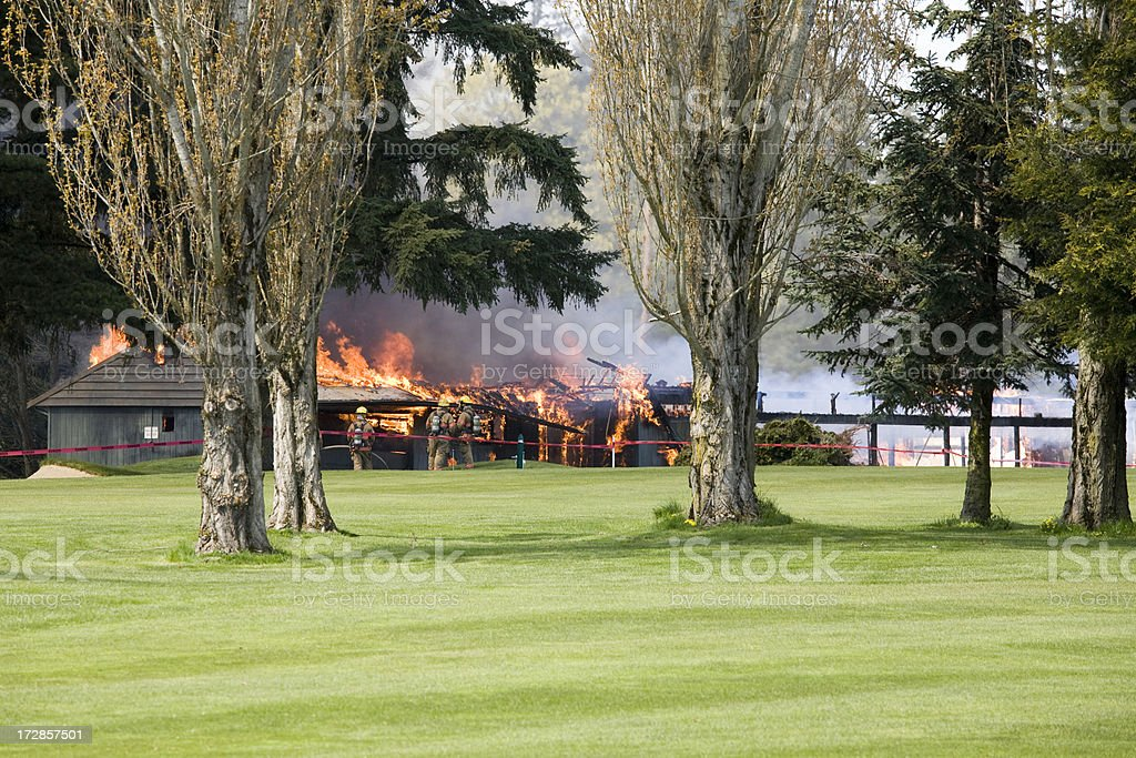 Fire on a Golf Course royalty-free stock photo