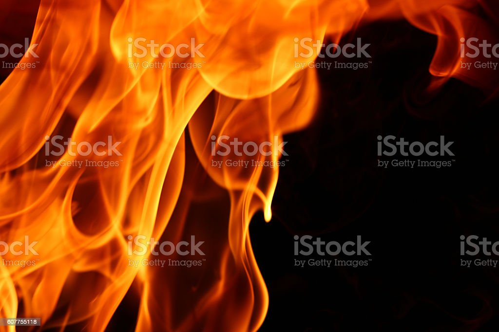 Fire on black background stock photo