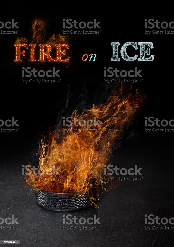 Fire on ice stock photo