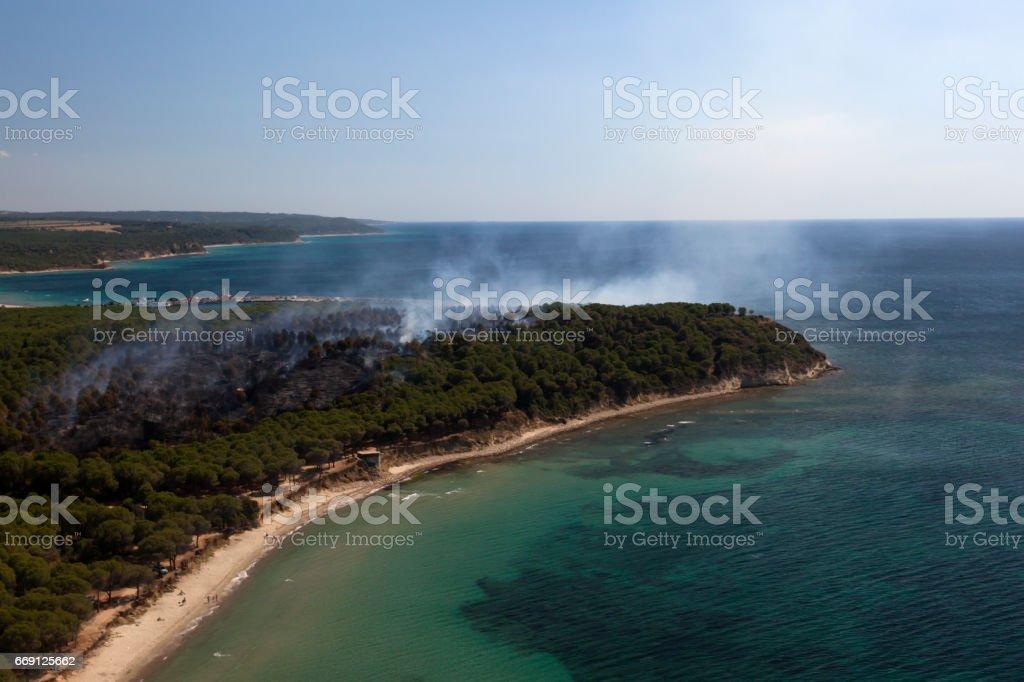 Fire on Peninsula stock photo