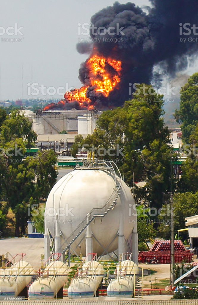 Fire on Petrochemical Plant stock photo